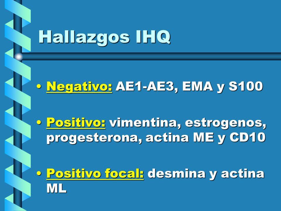 Hallazgos IHQ Negativo: AE1-AE3, EMA y S100Negativo: AE1-AE3, EMA y S100 Positivo: vimentina, estrogenos, progesterona, actina ME y CD10Positivo: vime