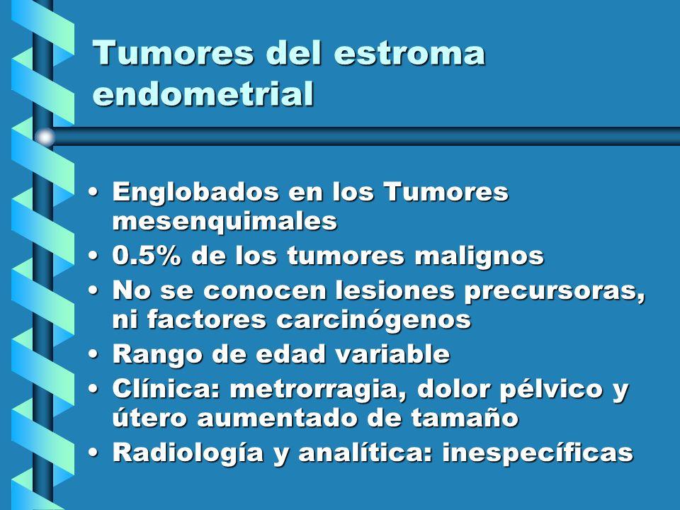 Tumores del estroma endometrial Englobados en los Tumores mesenquimalesEnglobados en los Tumores mesenquimales 0.5% de los tumores malignos0.5% de los