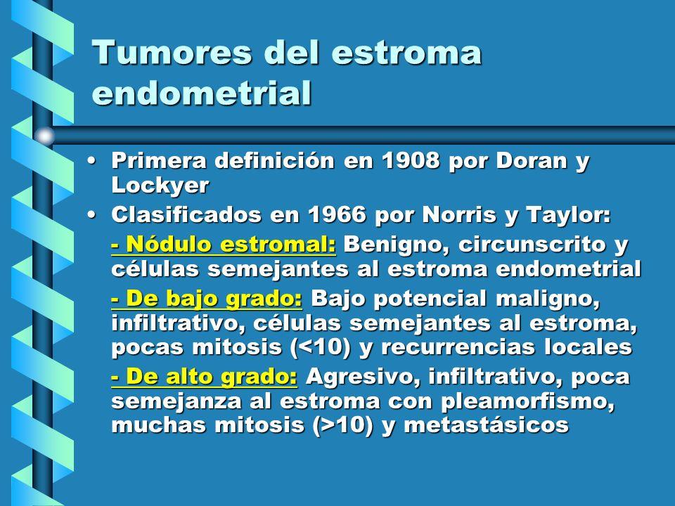 Tumores del estroma endometrial Primera definición en 1908 por Doran y LockyerPrimera definición en 1908 por Doran y Lockyer Clasificados en 1966 por