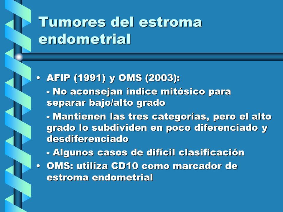 Tumores del estroma endometrial AFIP (1991) y OMS (2003):AFIP (1991) y OMS (2003): - No aconsejan índice mitósico para separar bajo/alto grado - Manti