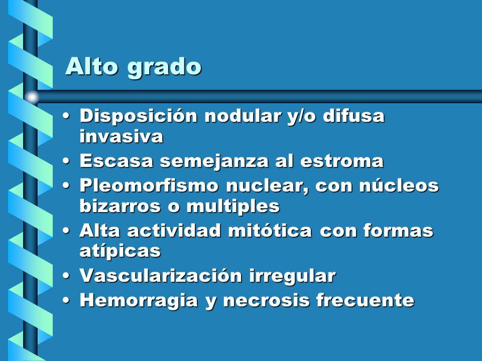 Alto grado Disposición nodular y/o difusa invasivaDisposición nodular y/o difusa invasiva Escasa semejanza al estromaEscasa semejanza al estroma Pleom