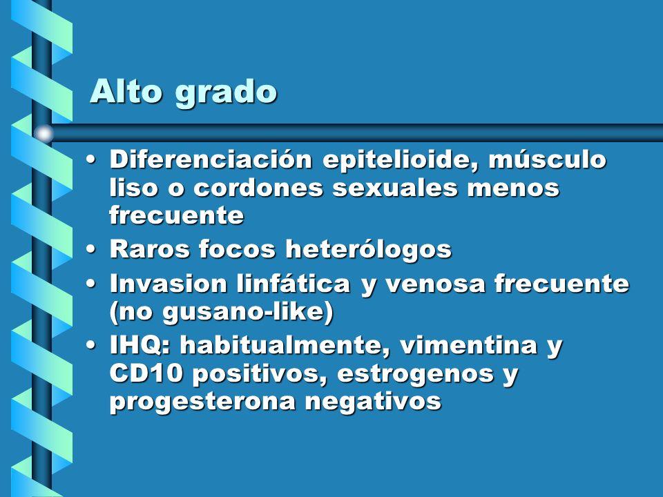Alto grado Diferenciación epitelioide, músculo liso o cordones sexuales menos frecuenteDiferenciación epitelioide, músculo liso o cordones sexuales me