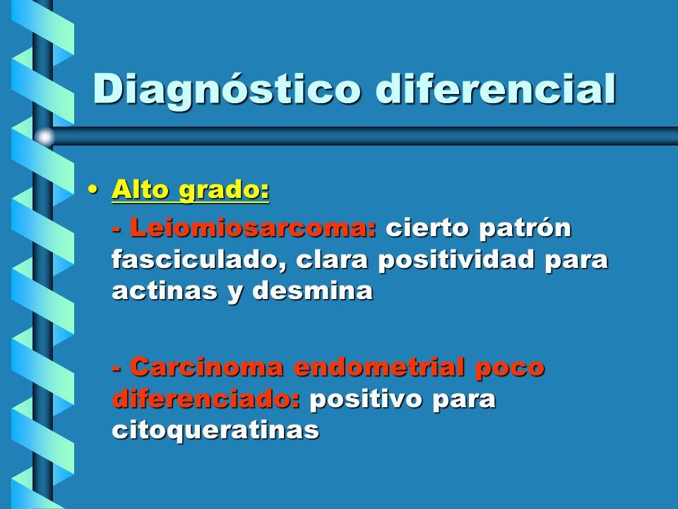 Diagnóstico diferencial Alto grado:Alto grado: - Leiomiosarcoma: cierto patrón fasciculado, clara positividad para actinas y desmina - Carcinoma endom
