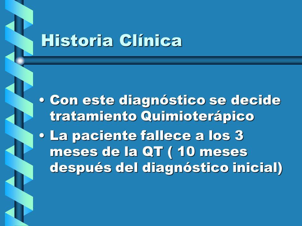 Historia Clínica Con este diagnóstico se decide tratamiento QuimioterápicoCon este diagnóstico se decide tratamiento Quimioterápico La paciente fallec