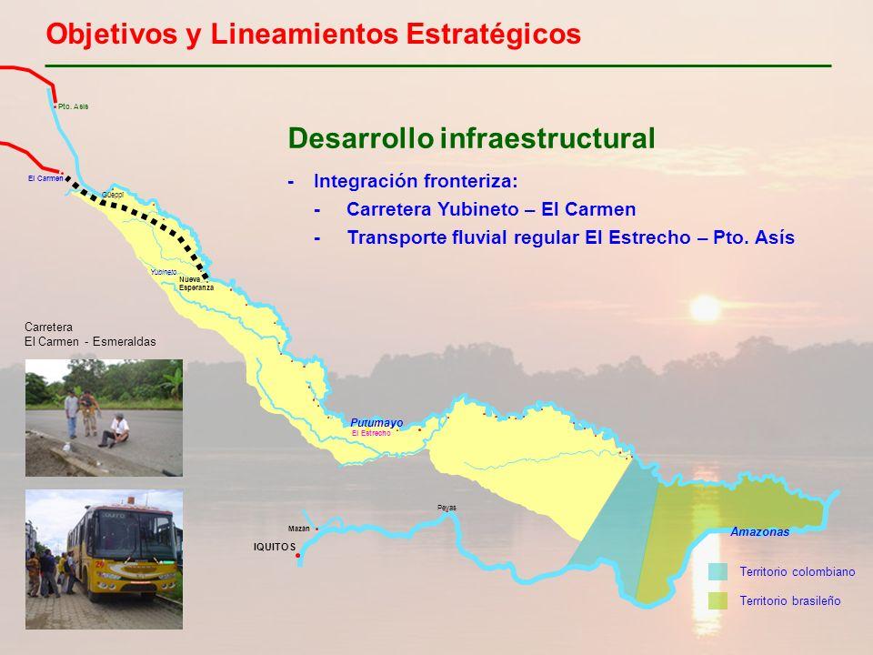 Objetivos y Lineamientos Estratégicos Desarrollo infraestructural -Integración fronteriza: -Carretera Yubineto – El Carmen -Transporte fluvial regular