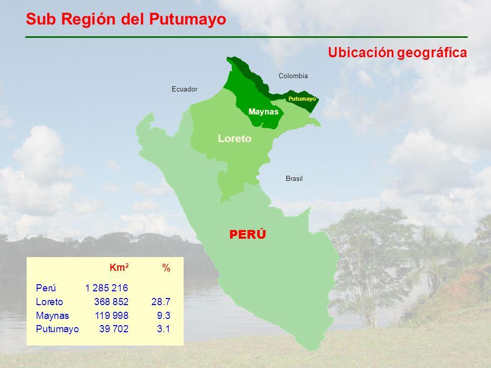 PERÚ Loreto Maynas Colombia Ecuador Brasil Putumayo Sub Región del Putumayo Ubicación geográfica Km 2 % Perú1 285 216 Loreto368 85228.7 Maynas119 9989