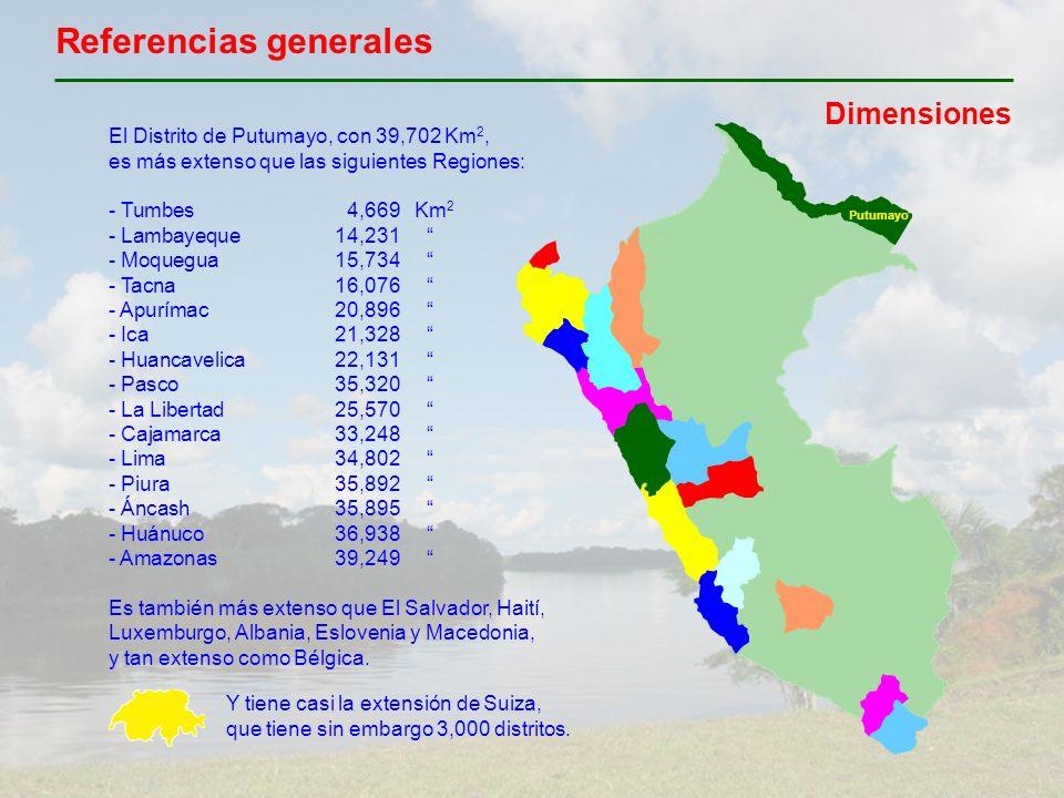 Referencias generales Dimensiones El Distrito de Putumayo, con 39,702 Km 2, es más extenso que las siguientes Regiones: - Tumbes4,669Km 2 - Lambayeque