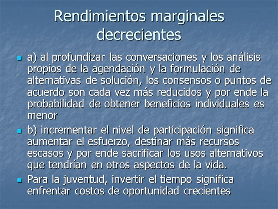 Rendimientos marginales decrecientes a) al profundizar las conversaciones y los análisis propios de la agendación y la formulación de alternativas de solución, los consensos o puntos de acuerdo son cada vez más reducidos y por ende la probabilidad de obtener beneficios individuales es menor a) al profundizar las conversaciones y los análisis propios de la agendación y la formulación de alternativas de solución, los consensos o puntos de acuerdo son cada vez más reducidos y por ende la probabilidad de obtener beneficios individuales es menor b) incrementar el nivel de participación significa aumentar el esfuerzo, destinar más recursos escasos y por ende sacrificar los usos alternativos que tendrían en otros aspectos de la vida.