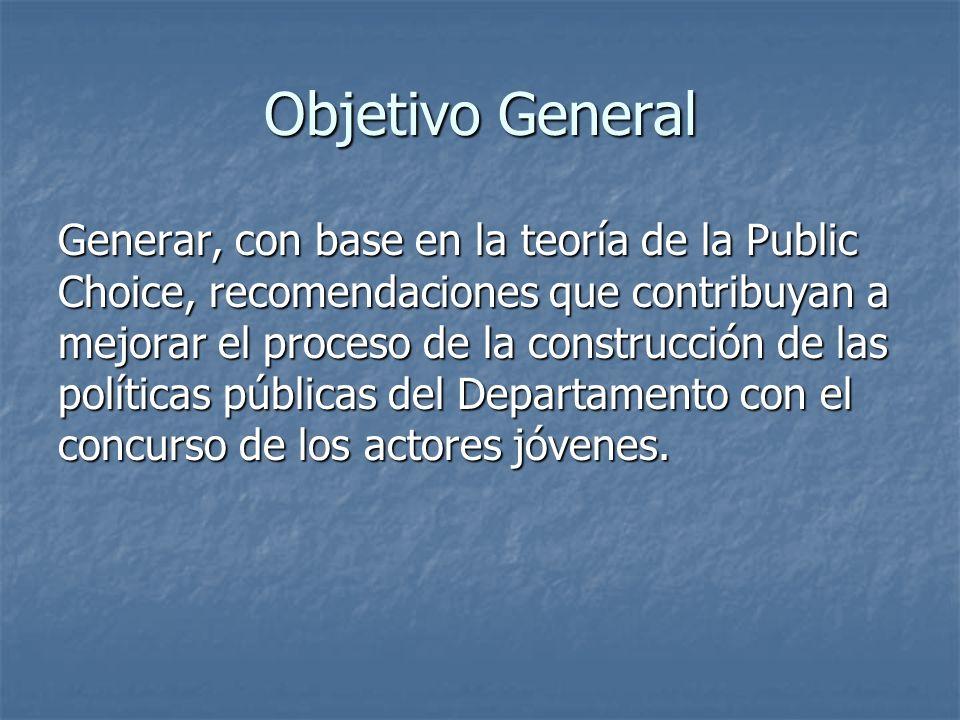 Objetivo General Generar, con base en la teoría de la Public Choice, recomendaciones que contribuyan a mejorar el proceso de la construcción de las políticas públicas del Departamento con el concurso de los actores jóvenes.