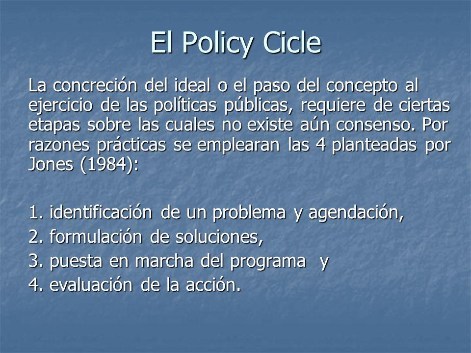 El Policy Cicle La concreción del ideal o el paso del concepto al ejercicio de las políticas públicas, requiere de ciertas etapas sobre las cuales no existe aún consenso.