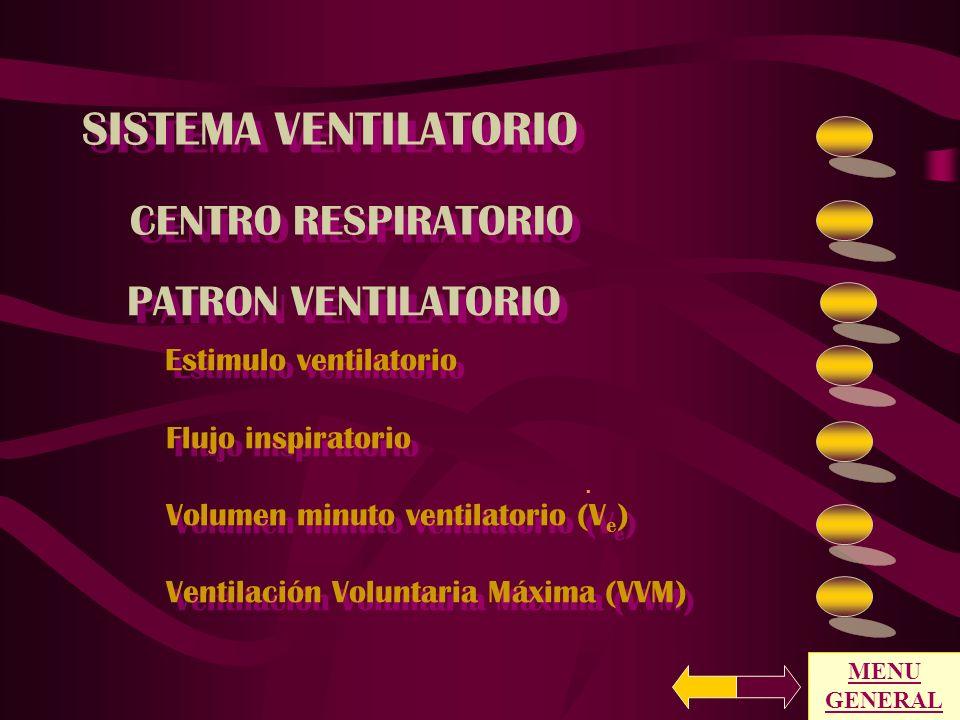 SISTEMA VENTILATORIO MENU GENERAL PRUEBAS ESPECIALES VENTILACION Y GASES