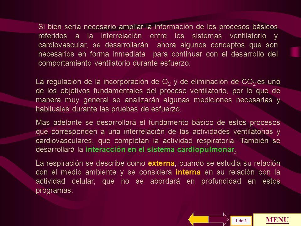 VENTILACION Y GASES VENTILACION ALVEOLAR VENTILACION Y GASES VENTILACION ALVEOLAR MENU GENERAL UMBRAL ANAEROBICO Ve / V O2.. Ve / V CO2..