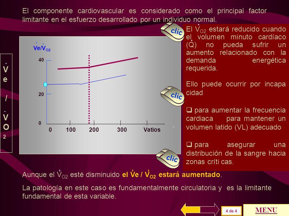 El producto Ve * Fe O2 disminuye ante igual ventilación ( Ve ). Para mantener el mismo V O2 se debe aumentar el Ve y el índice Ve / V O2 aumenta.....