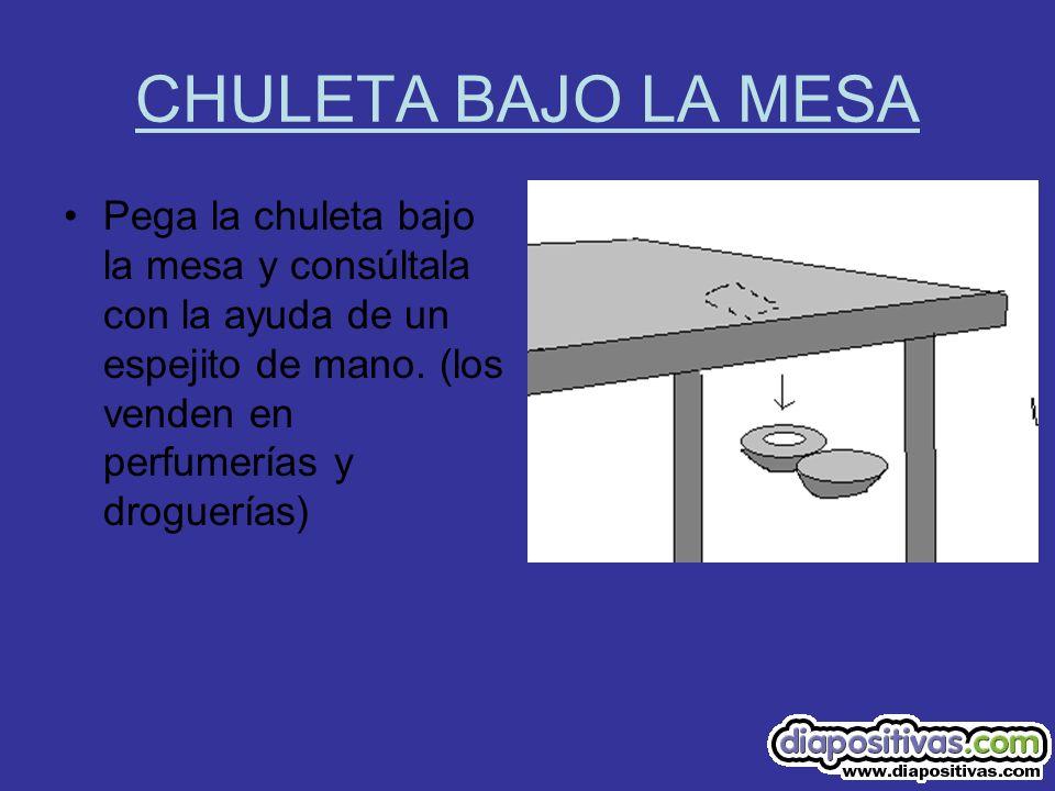 CHULETA BAJO LA MESA Pega la chuleta bajo la mesa y consúltala con la ayuda de un espejito de mano. (los venden en perfumerías y droguerías)