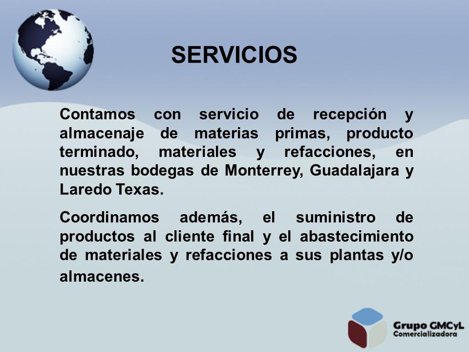 Contamos con servicio de recepción y almacenaje de materias primas, producto terminado, materiales y refacciones, en nuestras bodegas de Monterrey, Gu