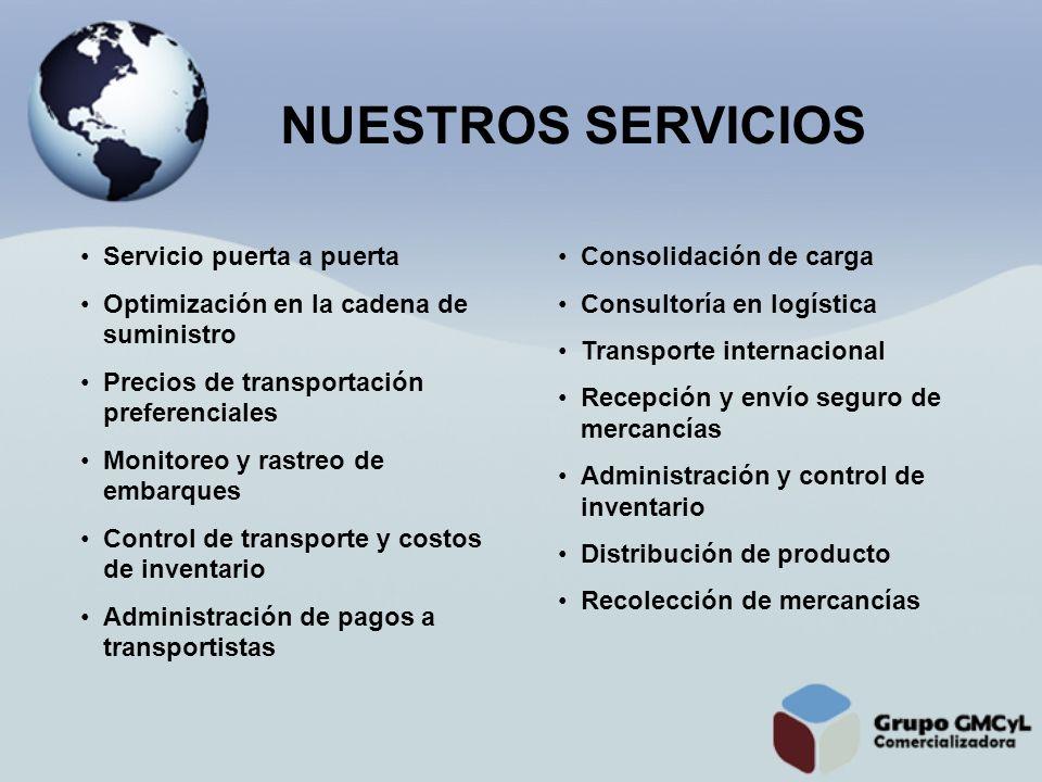 Servicio puerta a puerta Optimización en la cadena de suministro Precios de transportación preferenciales Monitoreo y rastreo de embarques Control de
