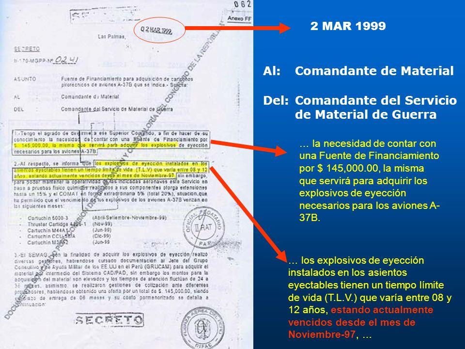 2 MAR 1999 … la necesidad de contar con una Fuente de Financiamiento por $ 145,000.00, la misma que servirá para adquirir los explosivos de eyección n