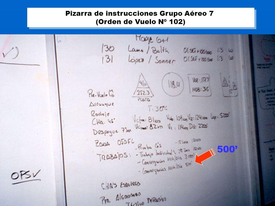 500 Pizarra de instrucciones Grupo Aéreo 7 (Orden de Vuelo Nº 102) Pizarra de instrucciones Grupo Aéreo 7 (Orden de Vuelo Nº 102)