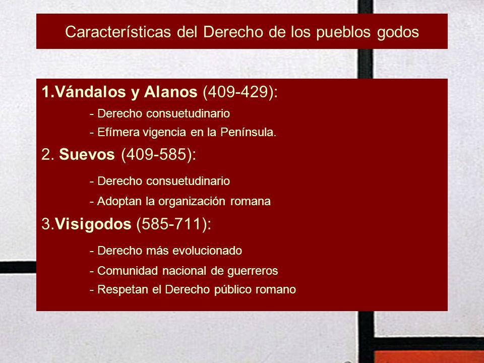 Características del Derecho de los pueblos godos 1.Vándalos y Alanos (409-429): - Derecho consuetudinario - Efímera vigencia en la Península. 2. Suevo
