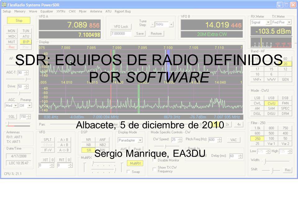 Equipos de conversión directa: parte hardware El equipo SDR, en recepción, entrega al ordenador el ancho de banda de interés en forma de dos señales llamadas señal en fase y señal en cuadratura (I y Q).