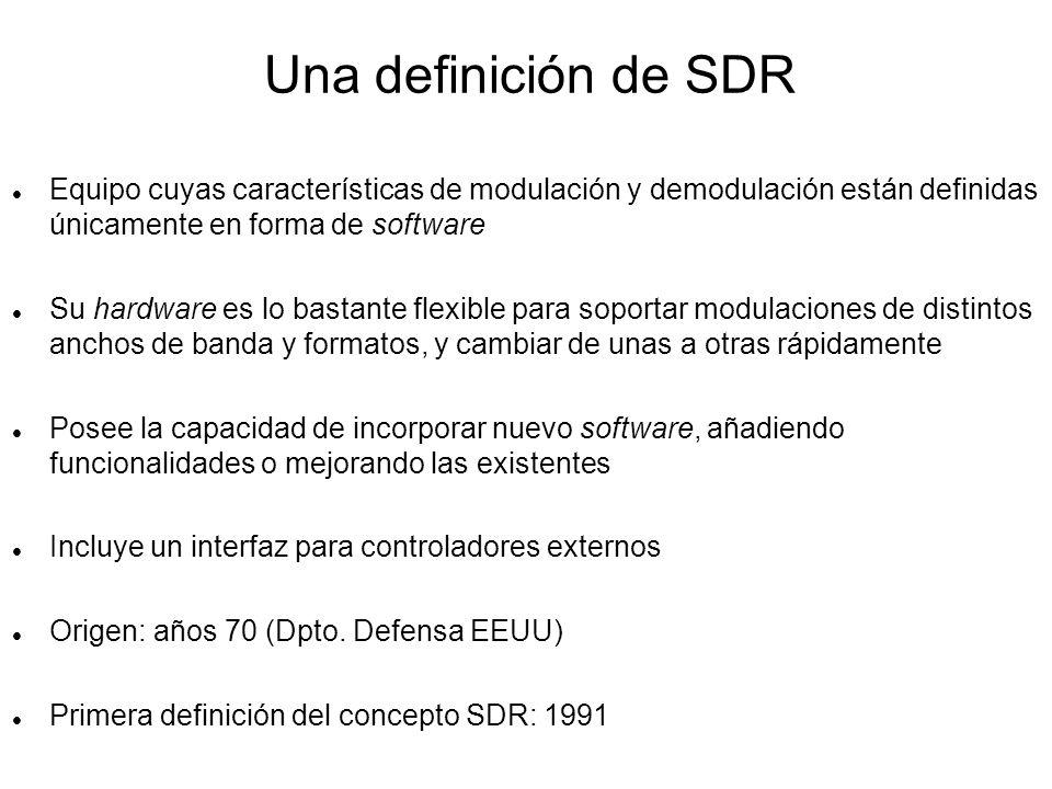 Características de los equipos SDR Sustituyen la implementación de funciones en forma de hardware a favor de software, sea software interno o esté en un ordenador externo.