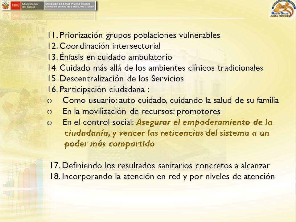11. Priorización grupos poblaciones vulnerables 12. Coordinación intersectorial 13. Énfasis en cuidado ambulatorio 14. Cuidado más allá de los ambient