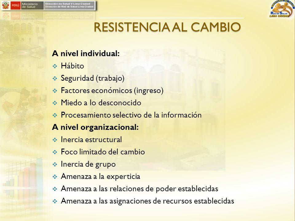 RESISTENCIA AL CAMBIO A nivel individual: Hábito Seguridad (trabajo) Factores económicos (ingreso) Miedo a lo desconocido Procesamiento selectivo de l