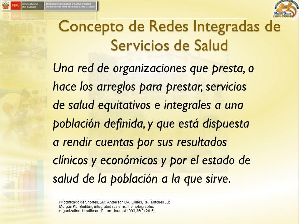 Concepto de Redes Integradas de Servicios de Salud Una red de organizaciones que presta, o hace los arreglos para prestar, servicios de salud equitati