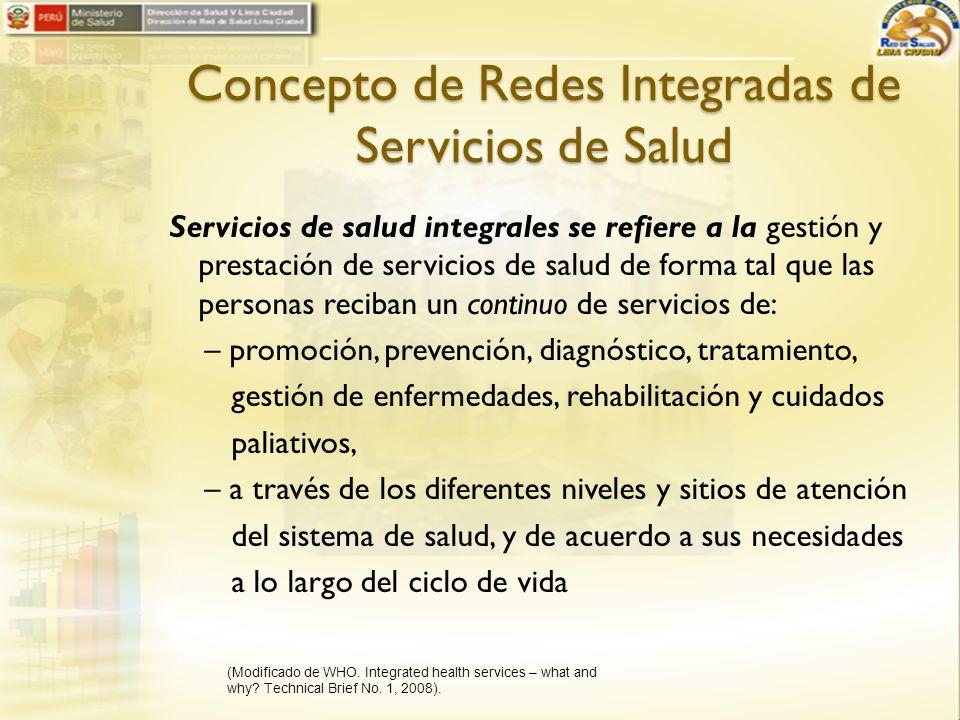 Concepto de Redes Integradas de Servicios de Salud Servicios de salud integrales se refiere a la gestión y prestación de servicios de salud de forma t