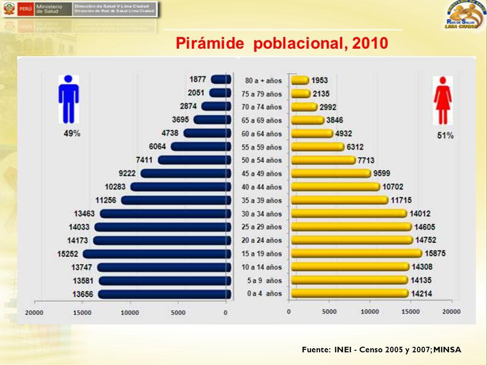 Pirámide poblacional, 2010 Fuente: INEI - Censo 2005 y 2007; MINSA