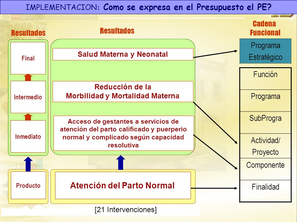 IMPLEMENTACION: Como se expresa en el Presupuesto el PE? Final Resultados Intermedio Inmediato Reducción de la Morbilidad y Mortalidad Materna Salud M