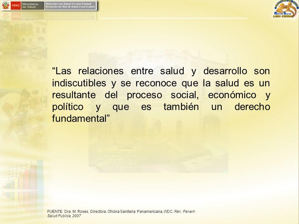 Las relaciones entre salud y desarrollo son indiscutibles y se reconoce que la salud es un resultante del proceso social, económico y político y que e