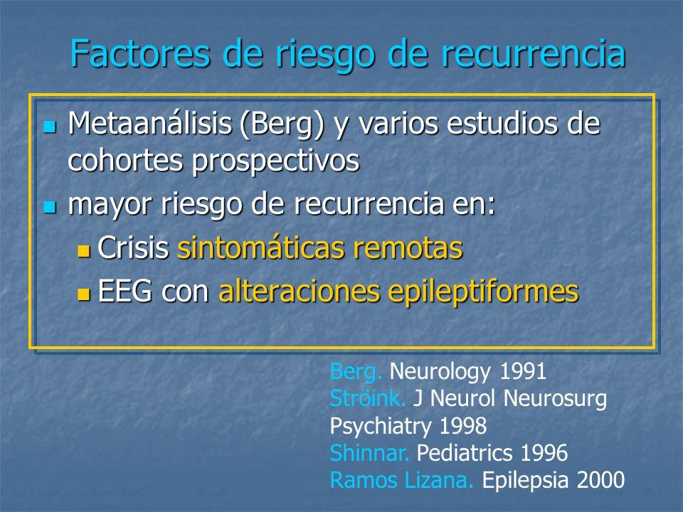 EEG con alteraciones epileptiformes La mayoría de los estudios que han investigado el riesgo en función de la etiología encuentran un aumento del riesgo de recurrencia únicamente en los pacientes con crisis idiopáticas o criptogénicas