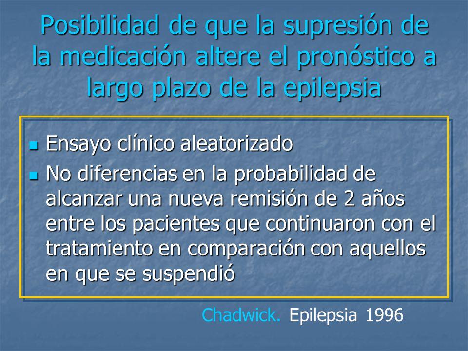 La recurrencia de las crisis tras la supresión de la medicación no disminuye la probabilidad de que el paciente vuelva a controlarse con el tratamiento
