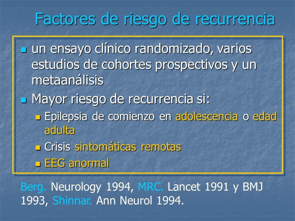 Factores de riesgo de recurrencia La presencia de un factor de riesgo individual implica un aumento del riesgo de recurrencia que en general no supera el 10-20%