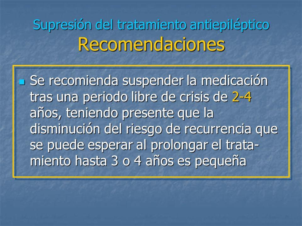 ¿ En cuánto tiempo debe suspenderse la medicación antiepiléptica ?