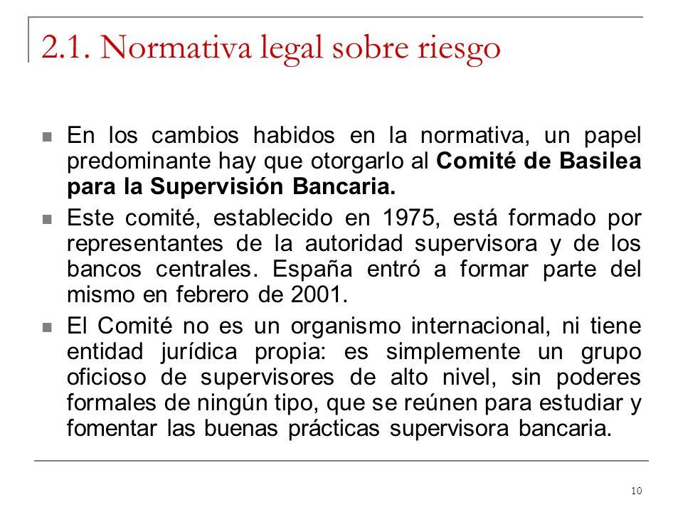 10 2.1. Normativa legal sobre riesgo En los cambios habidos en la normativa, un papel predominante hay que otorgarlo al Comité de Basilea para la Supe