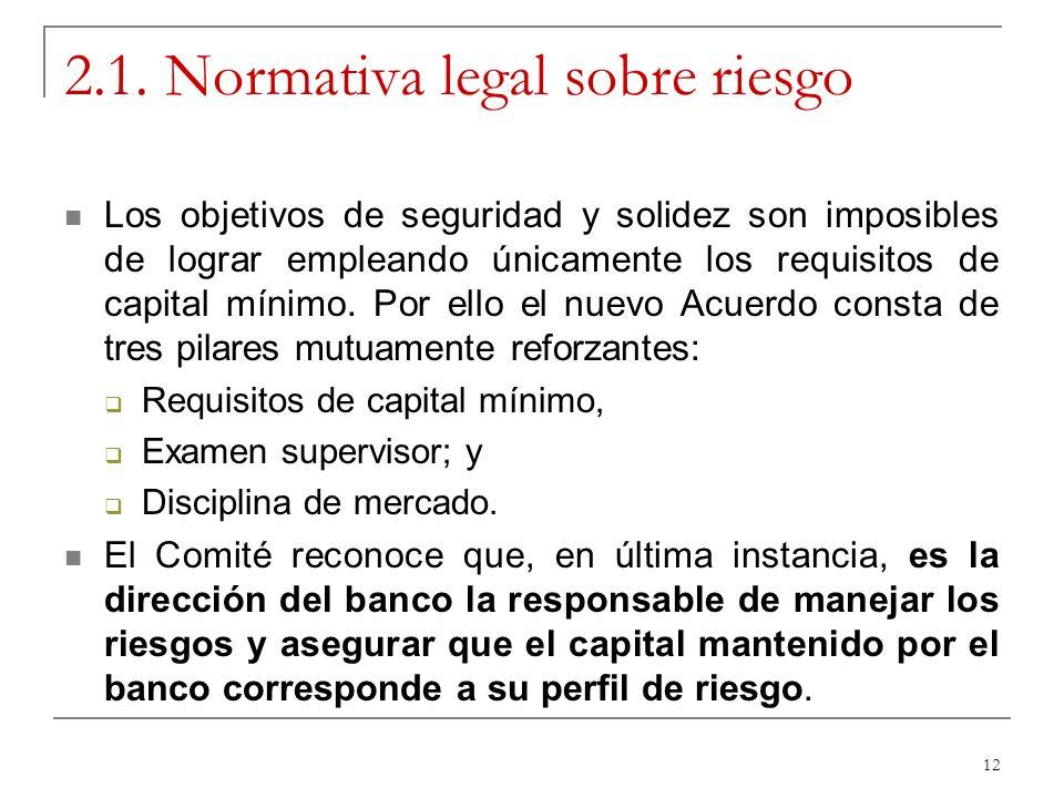 12 2.1. Normativa legal sobre riesgo Los objetivos de seguridad y solidez son imposibles de lograr empleando únicamente los requisitos de capital míni