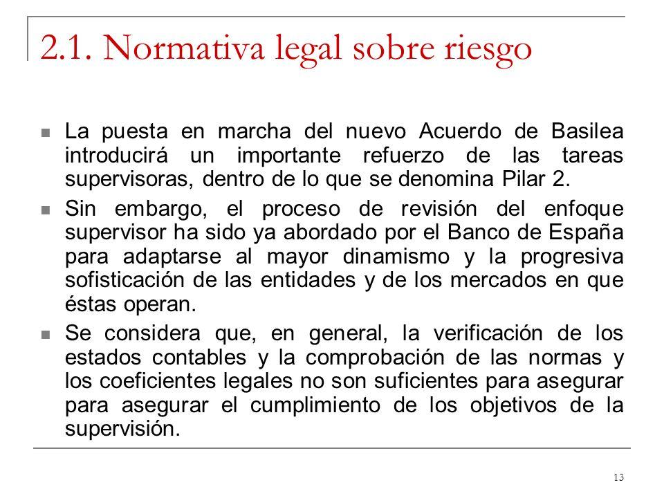 13 2.1. Normativa legal sobre riesgo La puesta en marcha del nuevo Acuerdo de Basilea introducirá un importante refuerzo de las tareas supervisoras, d