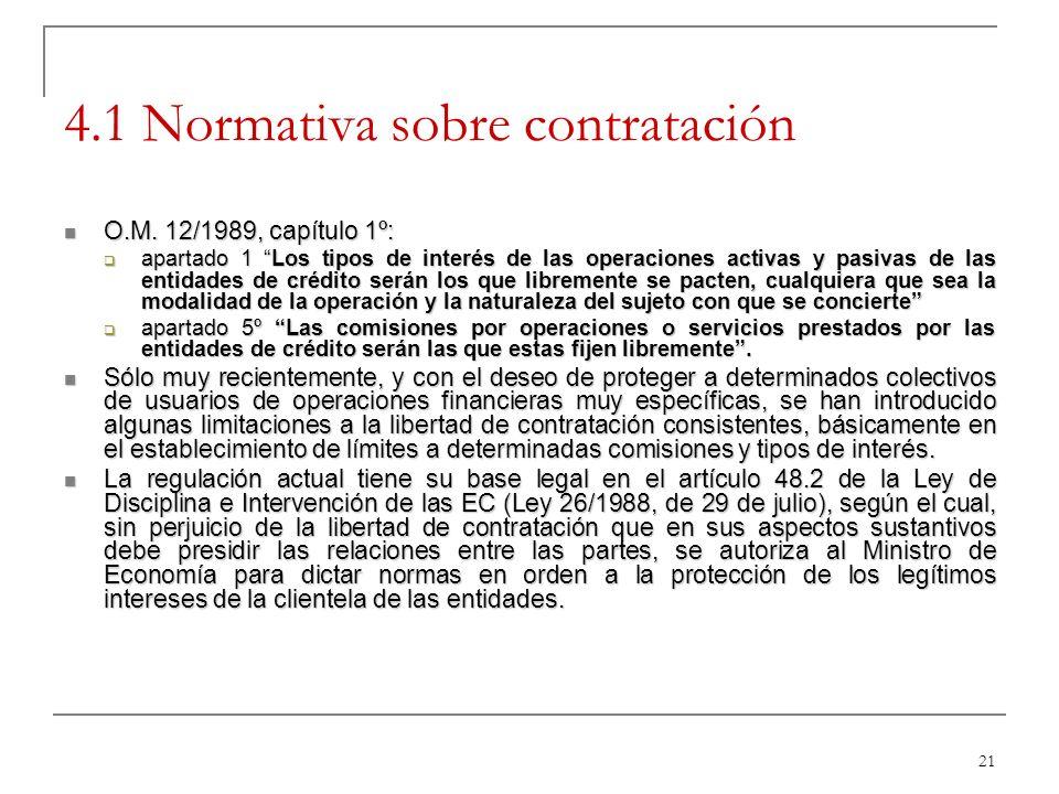 21 4.1 Normativa sobre contratación O.M. 12/1989, capítulo 1º: O.M. 12/1989, capítulo 1º: apartado 1 Los tipos de interés de las operaciones activas y