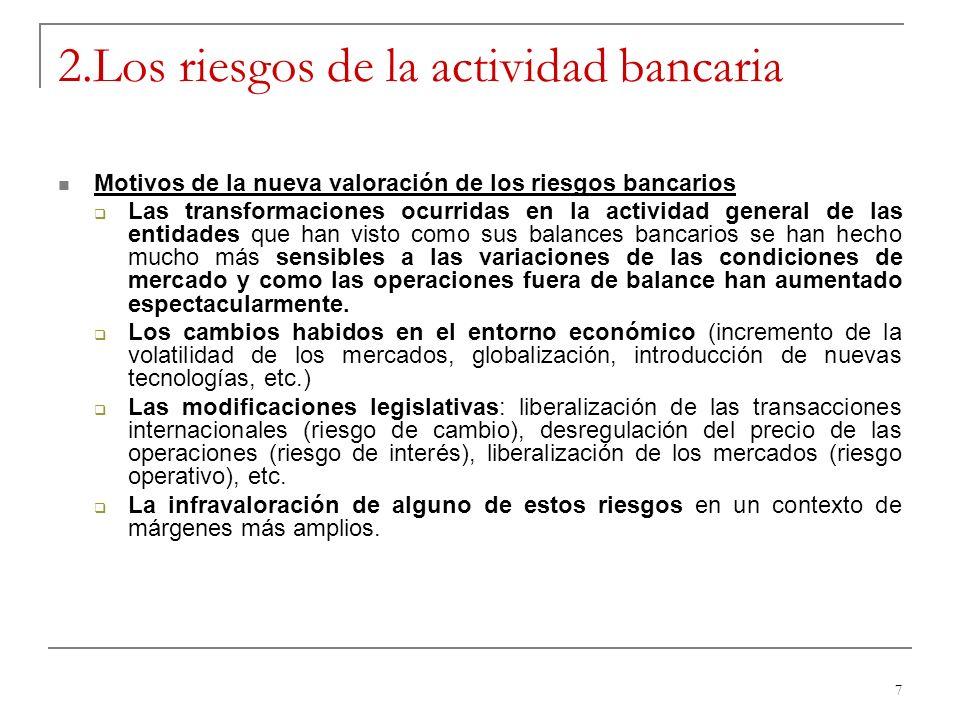 7 2.Los riesgos de la actividad bancaria Motivos de la nueva valoración de los riesgos bancarios Las transformaciones ocurridas en la actividad genera