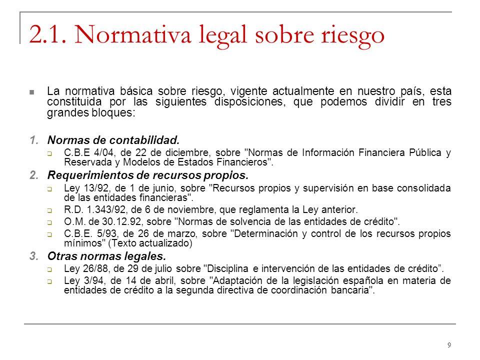 9 2.1. Normativa legal sobre riesgo La normativa básica sobre riesgo, vigente actualmente en nuestro país, esta constituida por las siguientes disposi