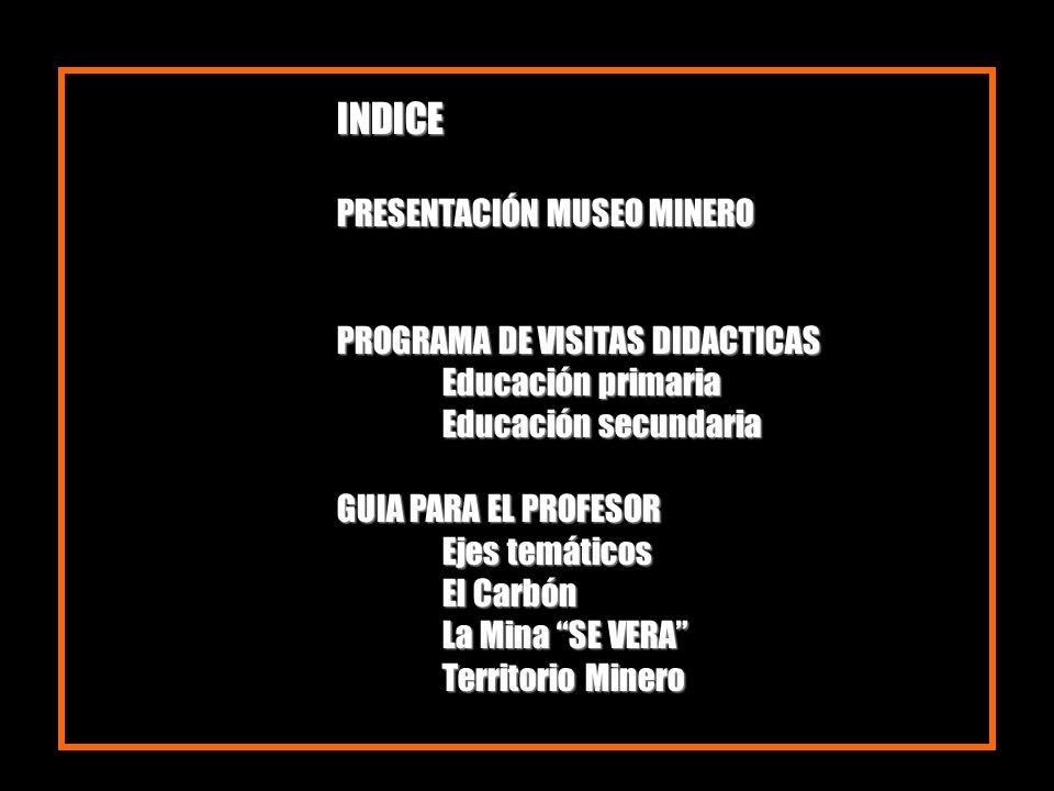 INDICE PRESENTACIÓN MUSEO MINERO PROGRAMA DE VISITAS DIDACTICAS Educación primaria Educación secundaria GUIA PARA EL PROFESOR Ejes temáticos El Carbón
