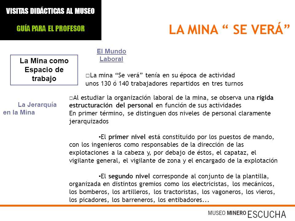 LA MINA SE VERÁ La Mina como Espacio de trabajo El Mundo Laboral La mina Se verá tenía en su época de actividad unos 130 ó 140 trabajadores repartidos