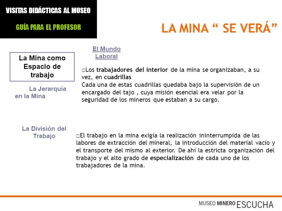 LA MINA SE VERÁ La Mina como Espacio de trabajo El Mundo Laboral Los trabajadores del interior de la mina se organizaban, a su vez, en cuadrillas Cada