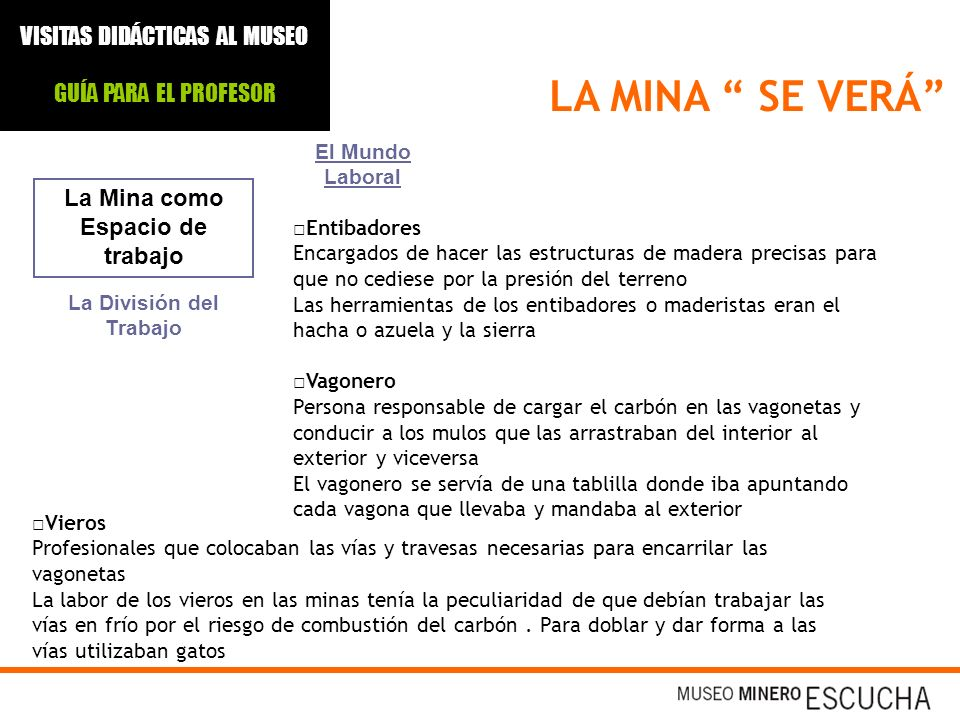 LA MINA SE VERÁ La Mina como Espacio de trabajo El Mundo Laboral Entibadores Encargados de hacer las estructuras de madera precisas para que no cedies