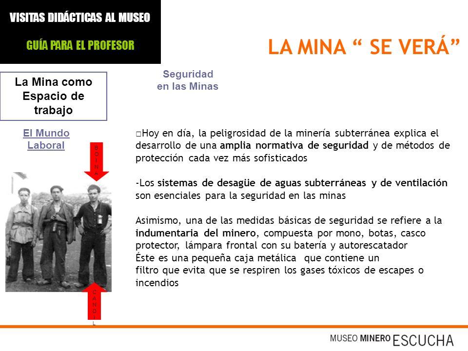 LA MINA SE VERÁ La Mina como Espacio de trabajo El Mundo Laboral Seguridad en las Minas Hoy en día, la peligrosidad de la minería subterránea explica