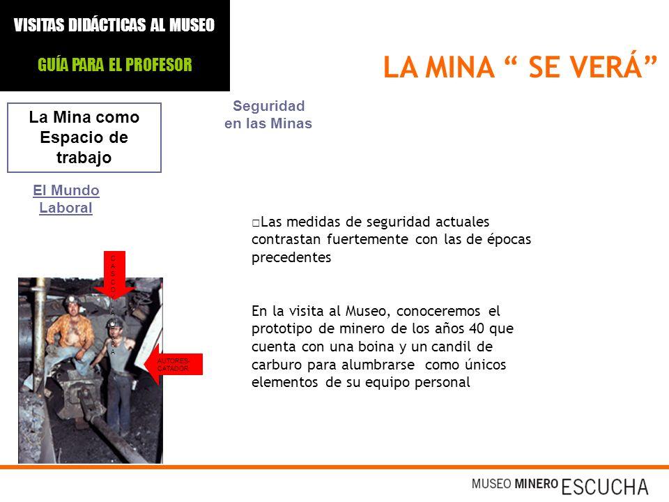 AUTORES- CATADOR CASCOYLAMPARACASCOYLAMPARA LA MINA SE VERÁ La Mina como Espacio de trabajo El Mundo Laboral Seguridad en las Minas Las medidas de seg