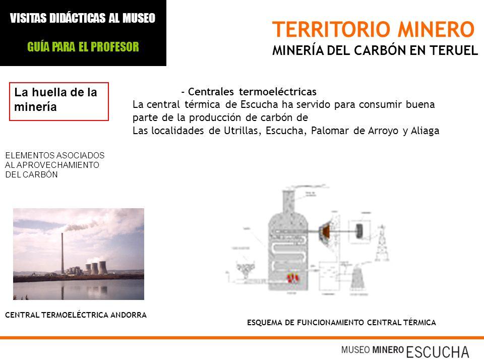 TERRITORIO MINERO MINERÍA DEL CARBÓN EN TERUEL La huella de la minería - Centrales termoeléctricas La central térmica de Escucha ha servido para consu