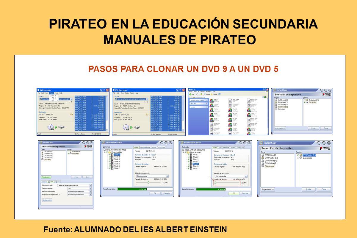 PASOS PARA CLONAR UN DVD 9 A UN DVD 5 Fuente: ALUMNADO DEL IES ALBERT EINSTEIN PIRATEO EN LA EDUCACIÓN SECUNDARIA MANUALES DE PIRATEO